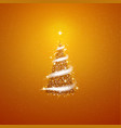 gold christmas tree blizzard stars background vector image