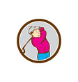 Golfer Swinging Club Circle Cartoon vector image
