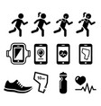 jogging people running jogging apps icons set vector image