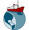 Passenger Cargo Ship on Top of Globe vector image vector image