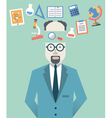 Picture of scientist with science symbols vector image vector image