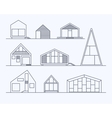 Tiny houses linear 1 vector image