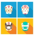 Cats doctors icon flat vector image