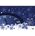 Christmas clock over abstract blue background vector image