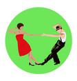 couple man and woman dancing vintage dance vector image