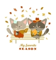 Couple of cats sitting on bench reading books and vector image