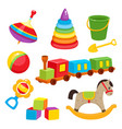 set of colorful cartoon style baby toys kid vector image