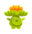 cute smiling cactus emoji with flowers on his head vector image