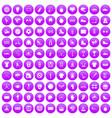 100 sport team icons set purple vector image