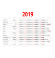 2019 calendar print template week starts sunday vector image