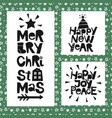 3 holiday quotes happy new year joy peace merry vector image