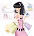 Brunette girl shopping vector image