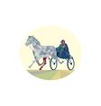 Horse and Jockey Harness Racing Low Polygon vector image