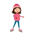 Cute young girl in roller pink skates hats and vector image