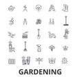 gardening flower garden tools vegetable grass vector image