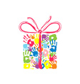 Gift box with bow of the handprints of family vector image
