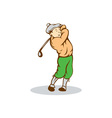 Golfer Swinging Club Cartoon vector image