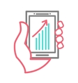 Hand holing smart phone with chart vector image