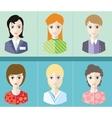 Women avatars portraits on blue background vector image