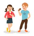 cartoon children eating ice cream vector image vector image