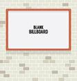 Blank Advertising Billboard On Brick Wall vector image