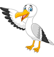 Cartoon seagull presenting isolated vector image