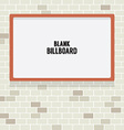 Blank Advertising Billboard On Brick Wall vector image