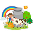 Farmer working in the farm with cow vector image