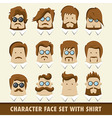 Men character icon set with shirt vector image