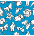 Origami paper folded figures seamless pattern vector image