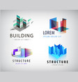 set of abstract building and structure vector image