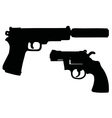 Two black handguns vector image