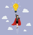 Business woman superhero holding creative vector image vector image