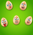 happy easter background with cheerful cartoon eggs vector image