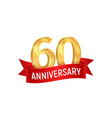 Sixtieth anniversary with red ribbon vector image