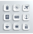 Travel icons set - white app buttons vector image vector image