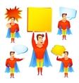 Superhero cartoon character with speech bubbles vector image