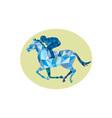 Jockey Horse Racing Oval Low Polygon vector image