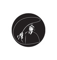 Mobster Suit Tie Casting Fly Rod Circle Retro vector image vector image
