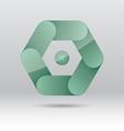 Abstract green hexagon icon vector image