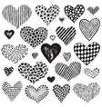 collection of hand drawn sketch hearts vector image