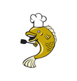 Cook Chef Largemouth Bass Fish Spatula Cartoon vector image