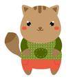 cute cat cartoon kawaii animal character vector image