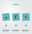 flat icons armchair espresso machine plant pot vector image