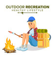 hiking girl sports outdoor recreation vector image