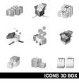 Icon set 3D Box vector image