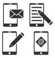mobile mail editing flat icon set vector image