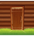 Old Door on Wooden Log Wall Log House Facade vector image