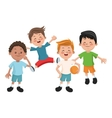 Group of happy boys cartoon kids vector image