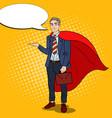 pop art smiling super businessman in red cape vector image